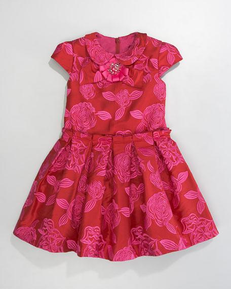 Floral Brocade Dress, Red