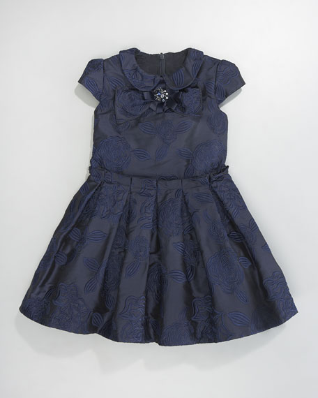 Floral Brocade Dress, Navy/Blue