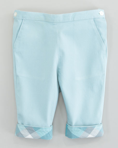 Check Turn-Up Trousers, Pale Green Opal