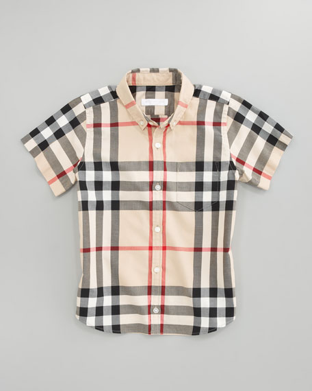 Mini Fred Short-Sleeve Check Shirt