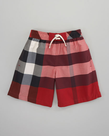 Mini Check Swim Shorts, Military Red
