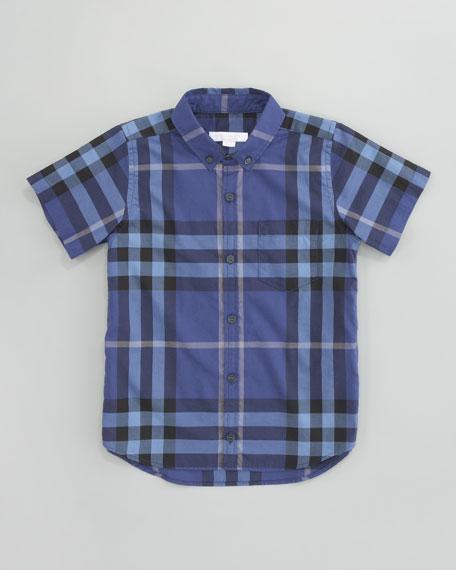 Short-Sleeve Check Shirt, Iris Blue