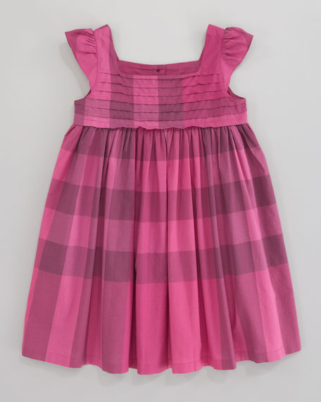 Voile Check Dress, Fuchsia