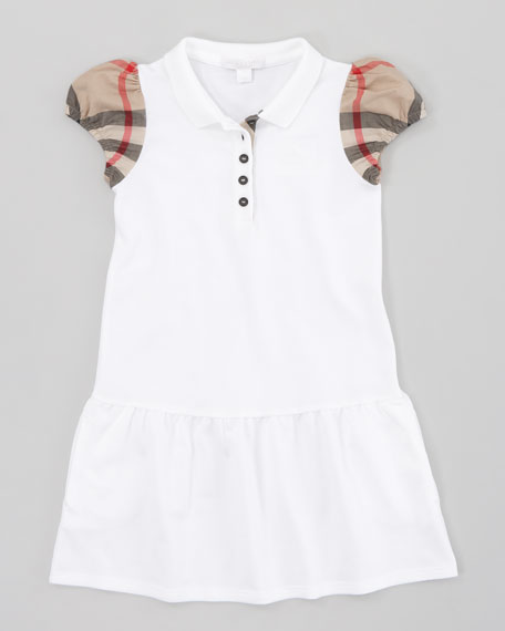 Drop-Waist Pique Dress, White
