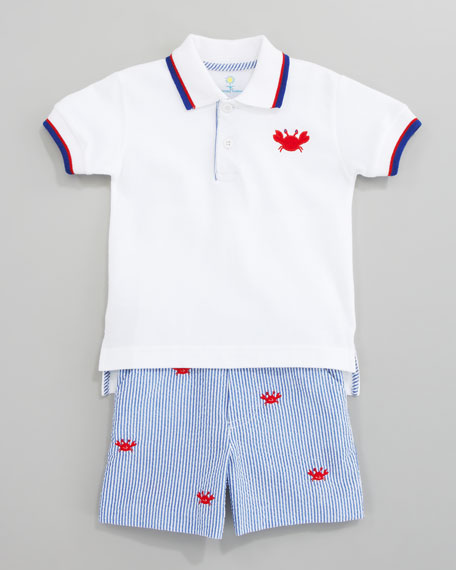 Who's Crabby Polo Shirt & Embroidered Crab Shorts