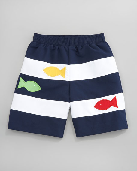 Striped Fish Swim Shorts