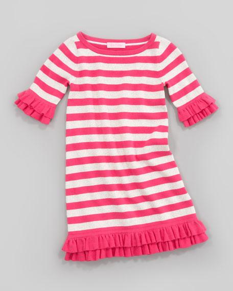 True Glam Metallic-Striped Dress, Navy