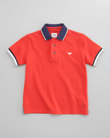 Striped-Trim Polo, Red