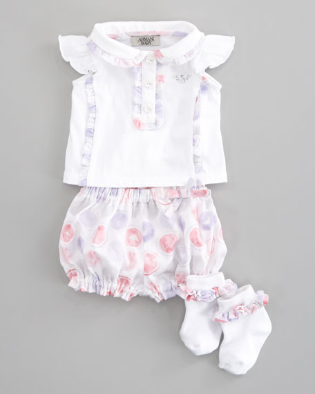 Ruffle-Trim Top, Bloomers & Socks