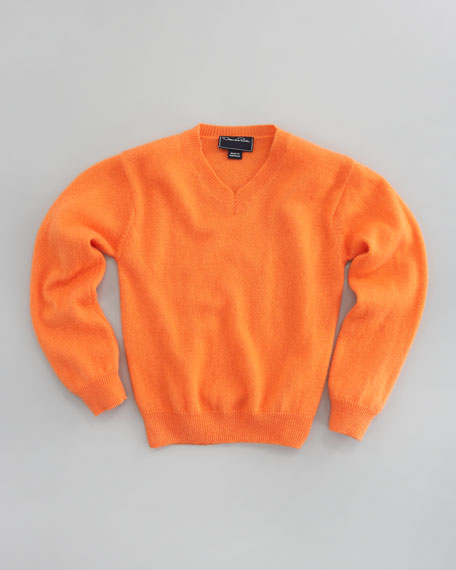Cashmere V-Neck Sweater, Orange