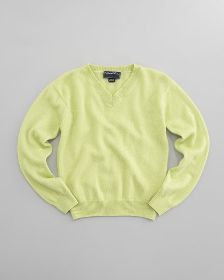 Cashmere V-Neck Sweater, Lime