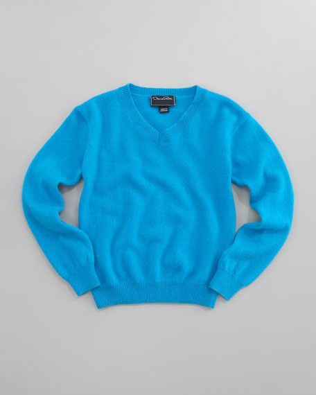 Cashmere V-Neck Sweater, Turquoise