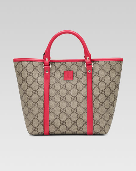 Girls' GG Plus Leather-Trim Fabric Tote Bag, Beige Ebony/Watermelon