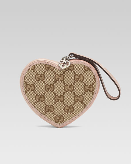 Girls' Micro Guccissima Heart Wristlet, Beige/Ebony