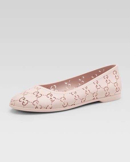 GG Rubber Ballet Flat, Powder Pink