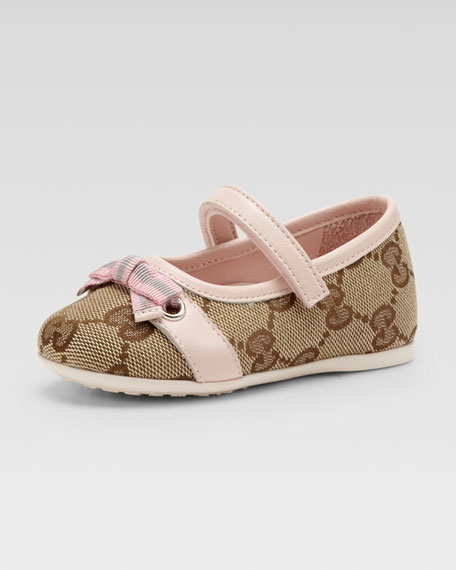 Marilyn GG Canvas Mary Jane Ballerina, Beige Ebony/Pink