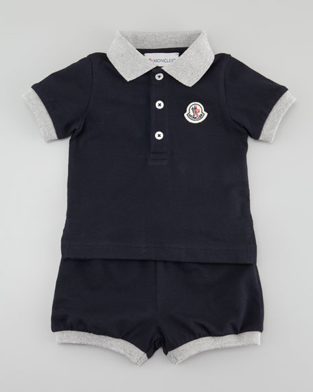 Short Sleeve Polo & Shorts Set, Navy