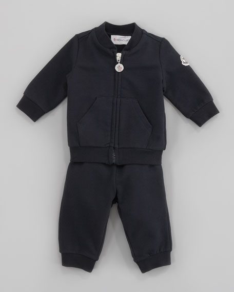 Tracksuit Set with Logo Patch, Navy