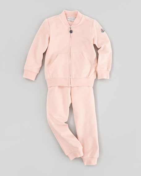 Tracksuit Set with Logo Patch, Light Pink