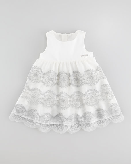 Embroidered Tulle Dress, Off White
