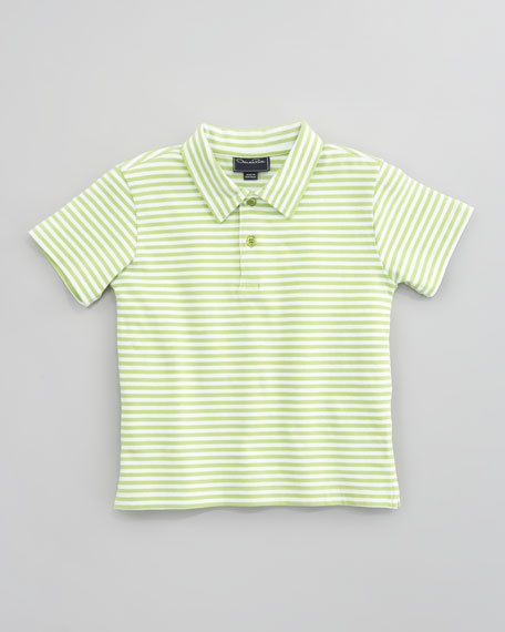 Striped Knit Polo Shirt, Lime/White