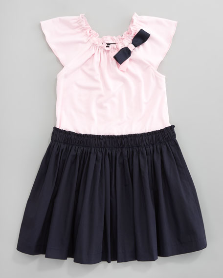 Jersey Poplin Skirt Dress, Pink/Navy