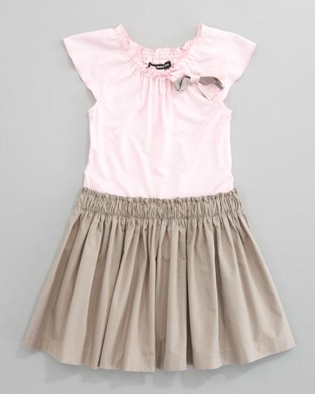 Jersey Poplin-Skirt Dress, Pink/Taupe