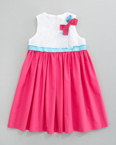 Poplin Eyelet Dress, Fuchsia/Turquoise
