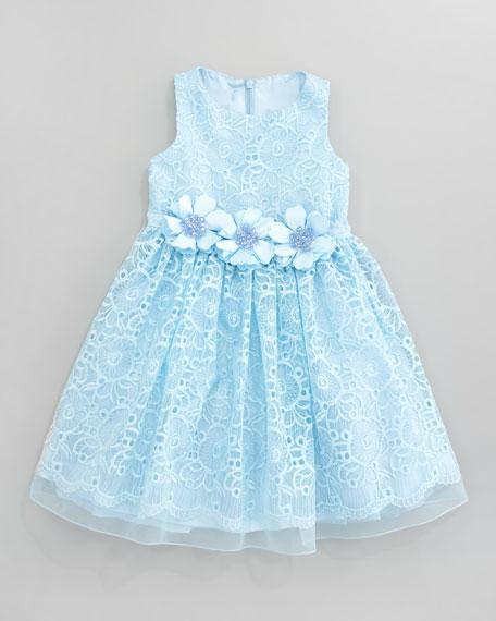 Lace Overlay Flower Dress, Aqua