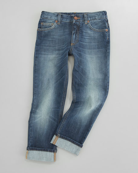 Five-Pocket Denim Jeans, Sizes 8-10