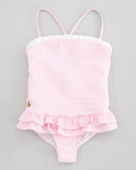 Seersucker One-Piece Swimsuit, Pink Stripe