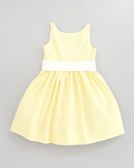 Sleeveless Pincord Dress, Yellow