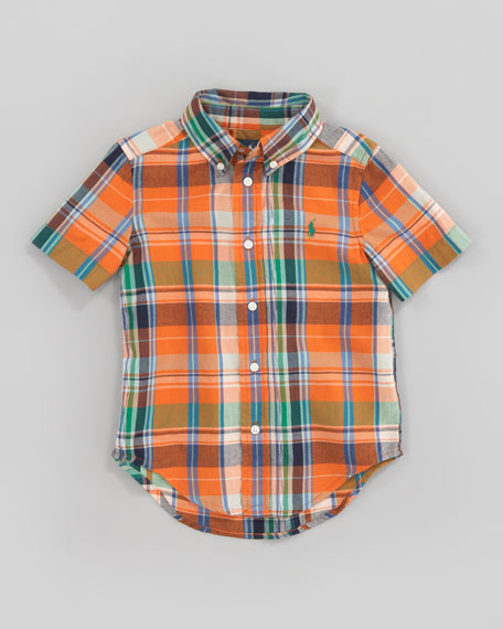 Orange Blake Short-Sleeve Plaid Shirt, Sizes 2-7
