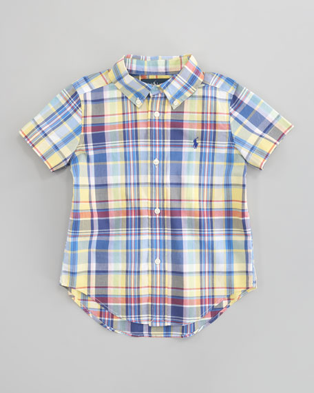 Blake Short-Sleeve Plaid Shirt, Sizes 2T-7