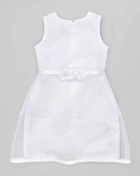 Organza Satin-Trim Dress
