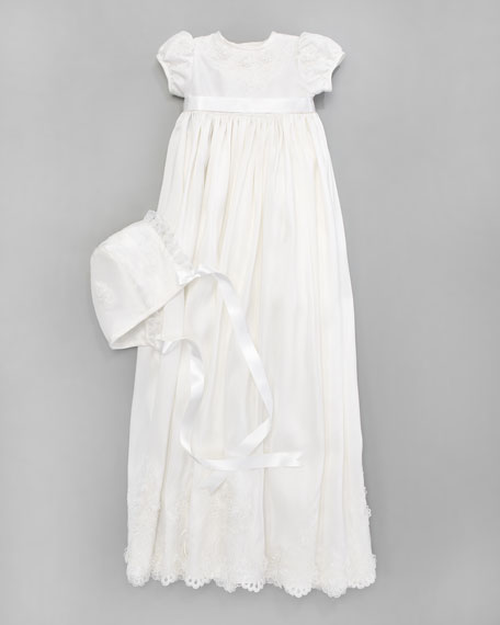 Silk Christening Gown & Embroidered Bonnet