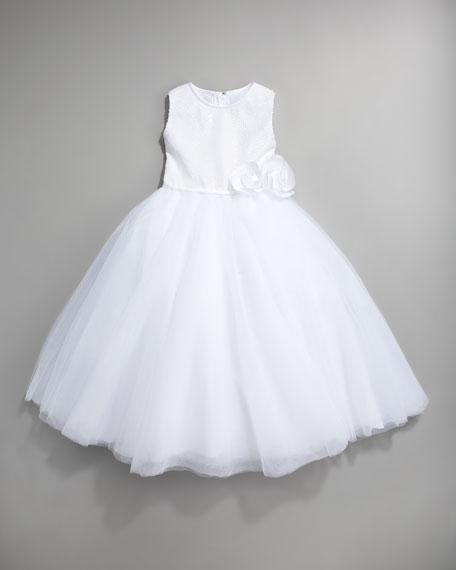 Sequin Tulle-Skirt Dress, White, Size 2-10