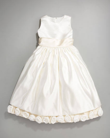 Rosette Sweep Satin Dress, Sizes 2-10