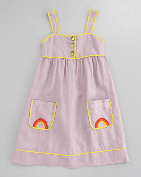 Ruby Linen Rainbow-Embroidered Dress