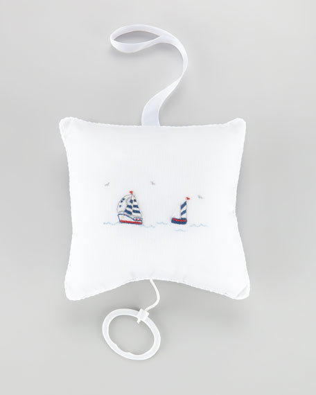 Starboard Sailboat Embroidered Pillow
