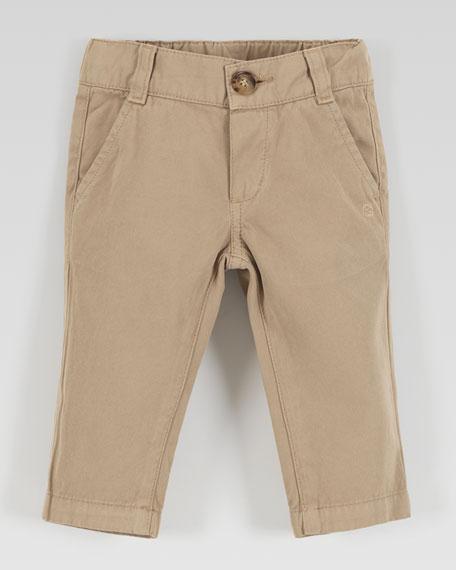 Flat-Front Cotton Slacks, Khaki