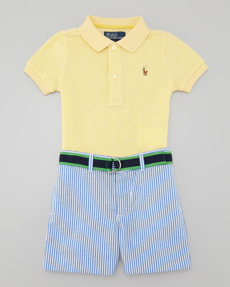 Polo Shirt & Seersucker Shorts Set, 3-9 Months