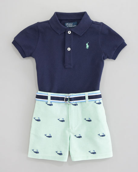Schiffli Embroidered Shorts & Polo Set