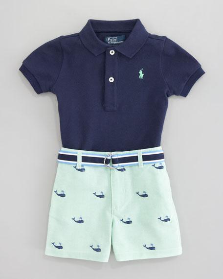 Schiffli Embroidered Shorts & Polo Set