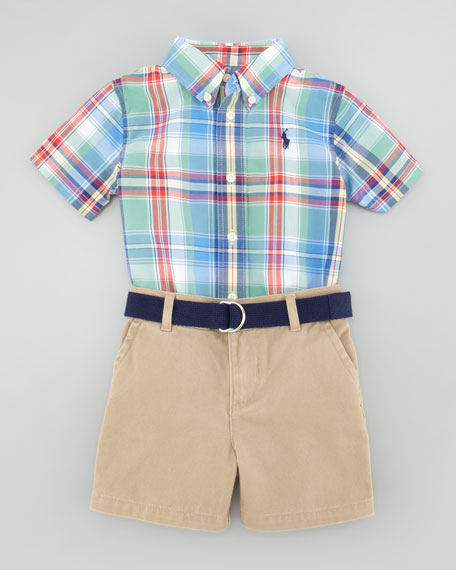 Plaid Short Sleeve Shirt & Short Set