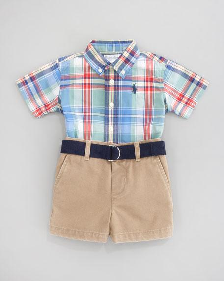 Plaid Short Sleeve Shirt & Short Set