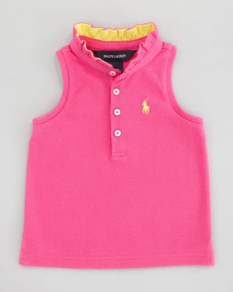 Sleeveless Polo Shirt With Ruffle Collar