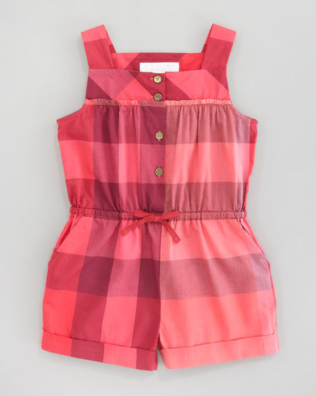 Check Short Jumpsuit, Pomegranate Pink