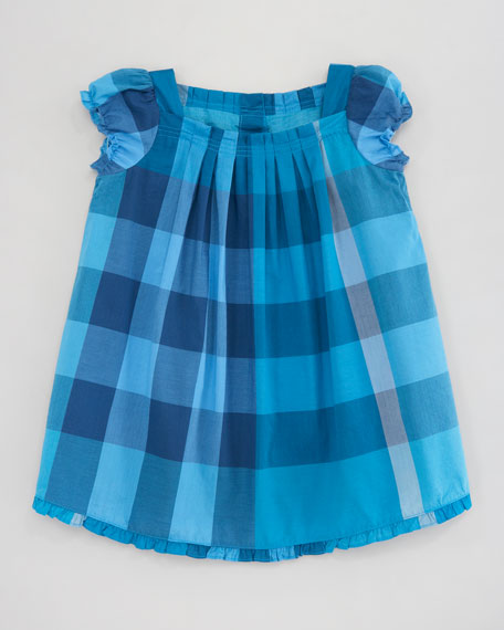 Voile Check Dress, Turquoise