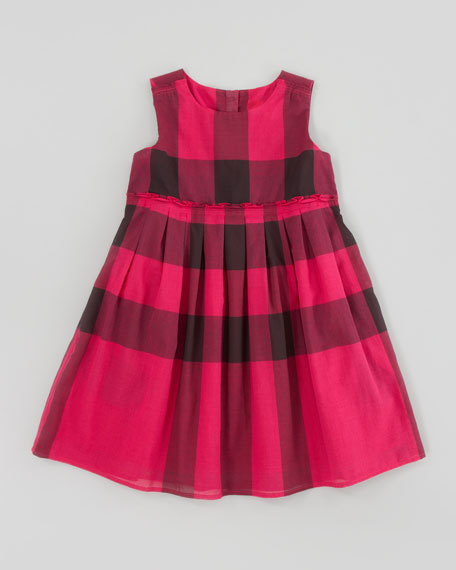 Check Dress with Ruffle Waist, Fuchsia
